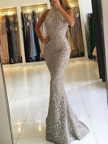592f59276a7b Apricot Patchwork Lace Bright Wire Halter Neck Bodycon Mermaid Sparkly  Glitter Elegant Prom Evening Party Maxi