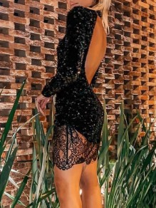 Black Patchwork Sequin Backless Bodycon Long Sleeve Sparkly Glitter Birthday Party Mini Dress