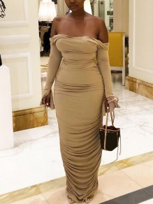 Khaki Off Shoulder Pleated Backless Tie Back Bell Sleeve Party Maxi Dress