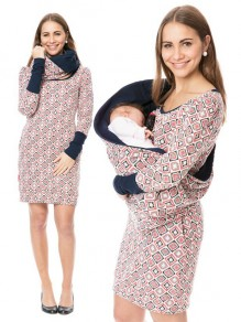 Pink Colorful Cut Out Irregular Collar Daily Maternity Dress