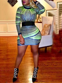 Green Striped Bodycon Long Sleeve Round Neck Party Mini Dress
