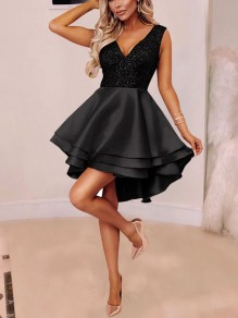 Black Patchwork Sequin Cascading Ruffle Pleated High-Low Tutu Sparkly Glitter Homecoming Party New Year's Eve Mini Dress