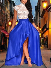 Blue Patchwork Lace Pleated High-Low New Year's Eve Prom Evening Party Maxi Dress