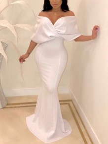 White Off Shoulder Bodycon Backless Mermaid V-neck New Year's Eve Prom Evening Party Maxi Dress
