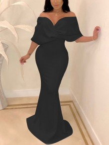 Black Off Shoulder Bodycon Backless Mermaid V-neck New Year's Eve Prom Evening Party Maxi Dress