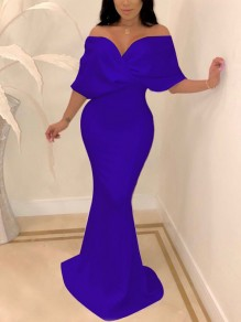 Blue Off Shoulder Bodycon Backless Mermaid V-neck New Year's Eve Prom Evening Party Maxi Dress