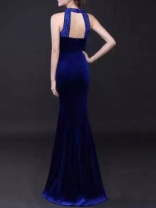 Blue Cut Out Sequin Bodycon Round Neck Party Maxi Dress