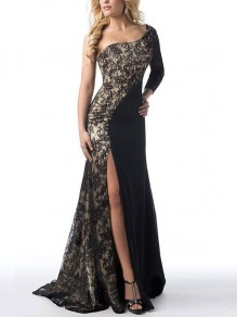 Black Patchwork Lace Asymmetric Shoulder Side Slits Pleated Mermaid Elegant Party Maxi Dress