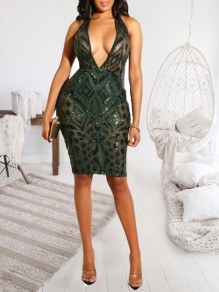 88c533d4 Green Geometric Sequin Deep V-neck Sparkly Bodycon Clubwear NYE Party Midi  Dress