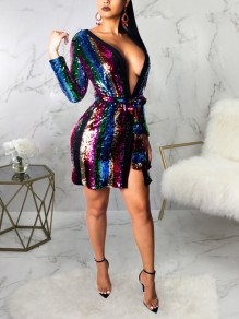 Red Rainbow Striped Sequin Belt Deep V-neck Long Sleeve Sparkly Glitter Party Mini Dress