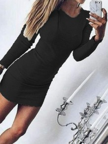 Black Print Round Neck Long Sleeve Fashion Mini Dress