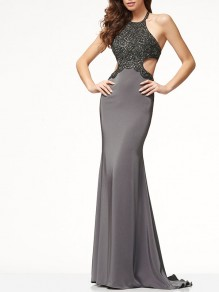 Grey Patchwork Sequin Bodycon Round Neck Party Maxi Dresses