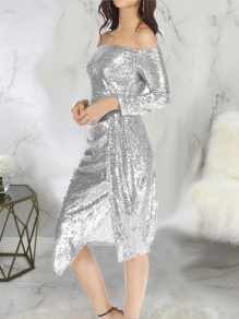 Silver Patchwork Sequin Side Slits Off Shoulder Long Sleeve Sparkly Glitter New Year's Eve Midi Dress