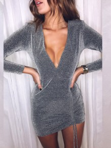 Silver Drawstring Cut Out V-neck Long Sleeve Fashion Mini Dress