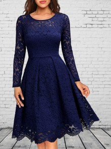 Navy Blue Patchwork Lace Long Sleeve Party Midi Dress