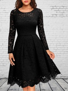 Black Patchwork Lace Round Neck Long Sleeve Elegant Party Wedding Prom Midi Skater Dress