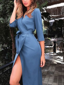 Light blue Slit Sashes Bodycon Elbow Sleeve Going out Midi Dresses