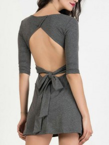 Grey Tie Back Backless Bodycon Three Quarter Length Sleeve Mini Dresses