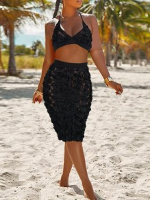 Black Patchwork Lace Floral Deep V-neck Backless Two Piece Beach Midi Dress