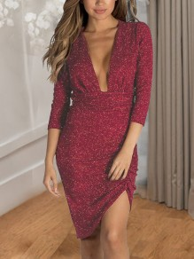 ed1d080e Red Sequin Irregular Pleated Deep V-neck 3/4 Sleeve Sparkly Birthday Party  Midi