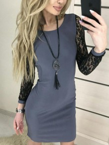 Grey Patchwork Lace Round Neck Long Sleeve Fashion Mini Dress