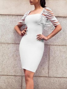 White Cut Out Tassel Bodycon Square Neck Party Elegant Prom Formal Midi Dress