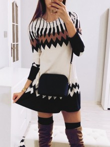 White Geometric Print Round Neck Long Sleeve Fashion Mini Dress