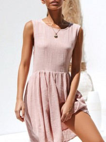 Pink Draped Flowy Round Neck Honey Girl Mini Dresses