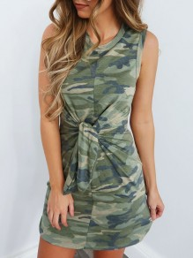 Army Green Camouflage Belt Round Neck Sleeveless Slim Casual Mini Dress