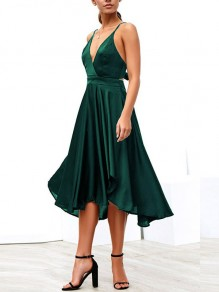 42172df475 Green Draped Condole Belt Bow Tie Back Irregular Backless V-neck Sleeveless  Elegant Midi Dress