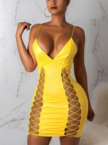 Yellow Lace-up Spaghetti Strap Backless Deep V-neck PU Leather Latex Vinly Patent Bodycon Party Mini Dress