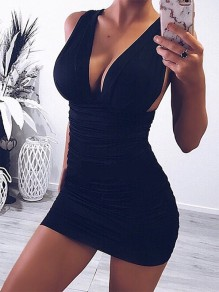 Black Cut Out Bodycon Deep V-neck Mini Dress