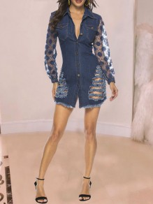 Blue Patchwork Grenadine Buttons Pockets Distressed Ripped Denim Long Sleeve Party Mini Dress