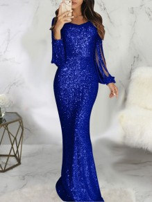 Blue Patchwork Sequin Tassel Bodycon Mermaid V-neck Butterfly Sleeve Sparkly Glitter Wedding Gowns Party Maxi Dress