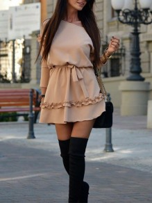 Pink Pleated One Off Shoulder Belt Long Sleeve Cute Homecoming Party Mini Dress