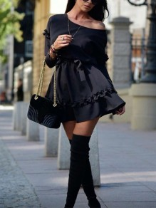 Navy Blue Pleated One Off Shoulder Belt Long Sleeve Cute Homecoming Party Mini Dress