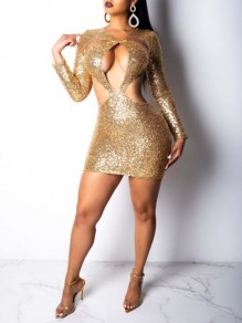 Golden Sequin Cut Out Backless Sparkly Bodycon Homecoming Party Mini Dress