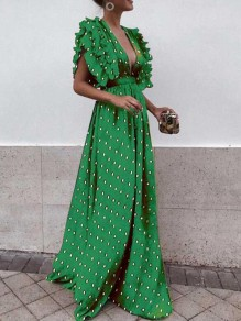 Green Polka Dot Ruffle Deep V-neck St. Patrick's Day High Waisted Flowy Beach Maxi Dress
