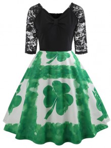 Green Patchwork Floral Big Clover Print Lace Grenadine Draped V-neck Elbow Sleeve Elegant Midi Dress