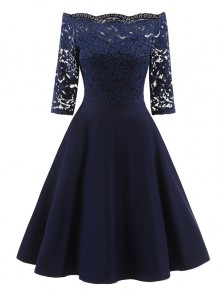 Navy Blue Patchwork Lace Draped Pleated Boat Neck Three Quarter Length Sleeve Elegant Midi Dress