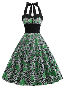 Green Leopard Floral Print Halter Neck Sleeveless Party Midi Dress