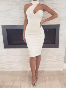 White Cut Out Asymmetric Shoulder Halter Neck Bodycon Elegant Party Midi Dress