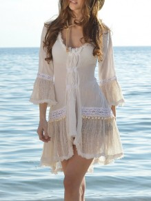 White Patchwork Cut Out Lace Irregular Three Quarter Length Sleeve Elegant Mini Dress