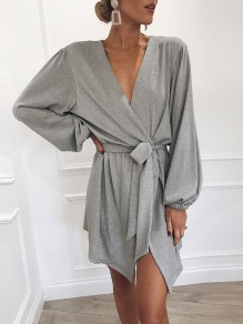 Grey Sashes Irregular Slit V-neck Long Sleeve Fashion Mini Dress