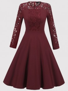 Wine Red Patchwork Lace Draped Long Sleeve Elegant Midi Dress