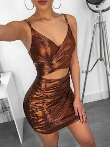 Brown Bright Wire Spaghetti Strap Cut Out V-neck Sparkly Glitter Party Mini Dress
