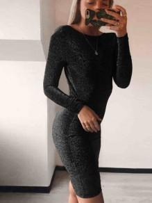 Black Bright Wire Round Neck Long Sleeve Fashion Midi Dress