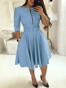 Light Blue Pockets Belt Zipper Long Sleeve Party Midi Dress