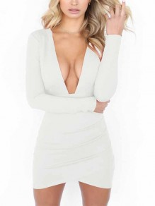 White Cut Out Bodycon Deep V-neck Long Sleeve Streetwear Mini Dress
