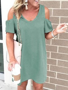 Green Cut Out V-neck Short Sleeve Going out Midi Dress